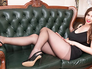 Sex Toys Babe with big natural tits fucks big toy in nylon pantyhose