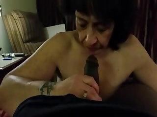 Ghetto Granny sucks Black Dong & Swallow.