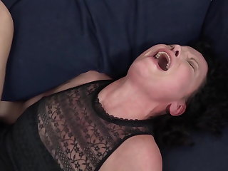 His big black cock makes the mature housewife have orgasms