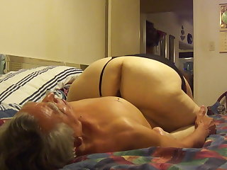Mexican Licking granny's big Pussy