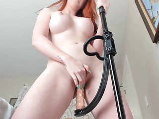Orgy Hot bodied redhead bounces on pogo dildo