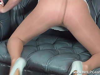Blonde impresses new boss fingering to orgasm in pantyhose