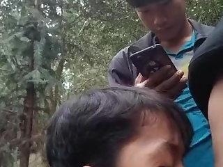 3 Asian Twinks Sucking Outdoors