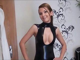 Cute girl fuck is blinded partner in black latex skirt