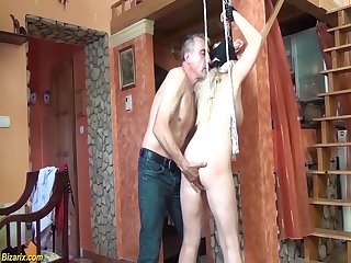 Hogtied chubby mom first time bdsm lesson