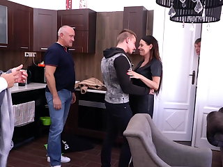 Female Choice Mature wife takes 3 cocks while cuckold watch