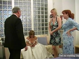 Deep Throats handsome daddy in suit being jerked off on wedding day
