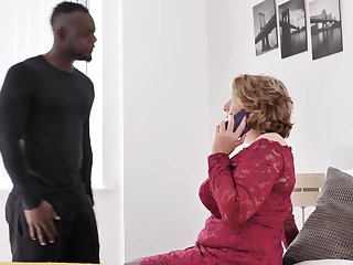 Mature busty mother tries big black cock