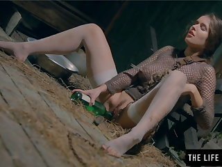 Slave Restrained by chains a dirty milf masturbates with a bottle