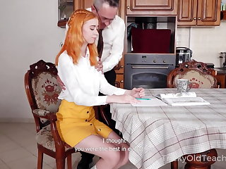 Greek Grey-haired teacher punishes ginger student