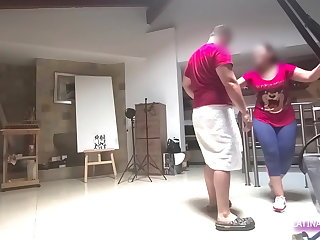 Maid MILF with huge ass takes off pants in the bathroom