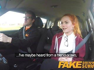 Fake Driving School Redhead Ella Hughes eats instructors cum Ella Hughes