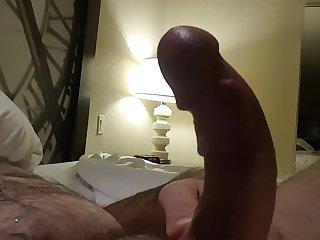 Jerking off in hotel.  Big cum shot. Hairy Bear
