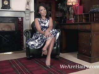 Upskirts Kayla Louise strips nude on her armchair